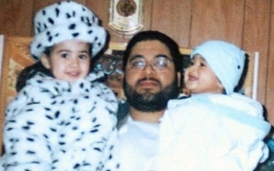 Shaker Aamer with two of his children, daughter Johina and son Michael