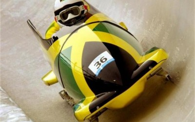 JAMAICA 1 COMPETES IN TWO MAN BOBSLEIGH AT THE WINTER OLYMPIC GAMES.